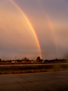 A double rainbow at dusk near Neosho, Mo. in October, 2008.