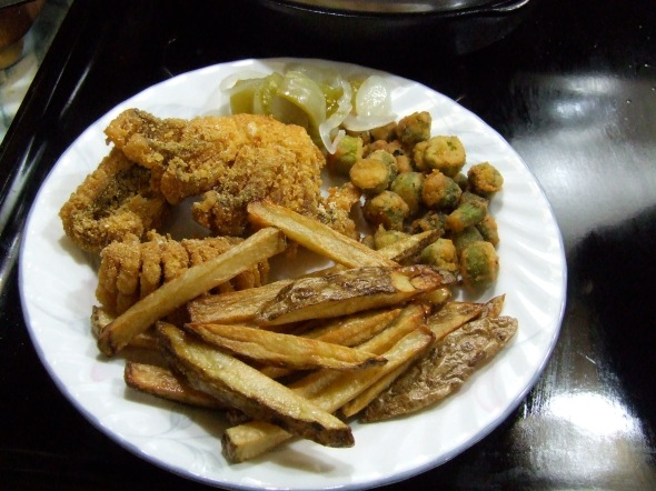 fish, fries, okra, and some of last summer's pickled green tomatoes.