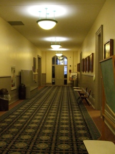 The hallway of the second floor of Old Main, showing recent redecorating efforts.